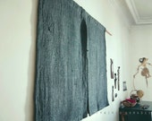 Short curtain.  Rough-hewn Noren: Recycled Burlap. Wall hanging room divider. Hand dyed..  colors Aegean blue / HYPHEN