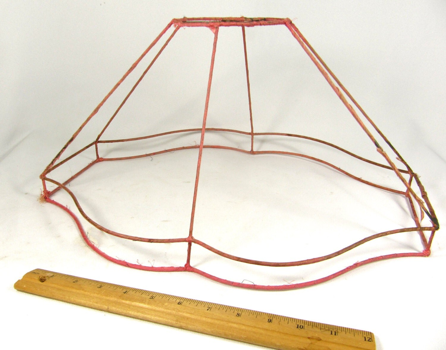 Lamp shade wire frame vintage for floor lamp large antique for Floor lamp with wire shade
