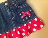 Minnie Mouse skirt -3t only -  upcycled  -refab - Disney Vacation- Ready to Ship