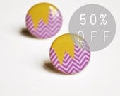 ON SALE - Purple and Yellow Abstract Chevron Stud Earrings- Hypoallergenic Surgical Stainless Steel Posts