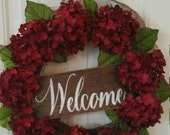 Home& Living Home Decor Wreaths and Door Hangers Wreath Wreaths Front door wreath Hydrangea wreath burlap wreath burlap bow wreath hydrangea