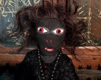 Old Folk Art Conjure Doll with real Human Hair at Gothic Rose Antiques
