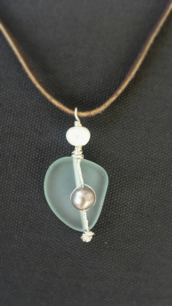 Beachy Soft Green Sea Glass and Pearl Necklace