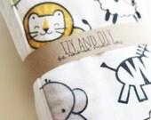 New Baby Burp Cloth - Set of 2 - Black Grey Yellow Animals