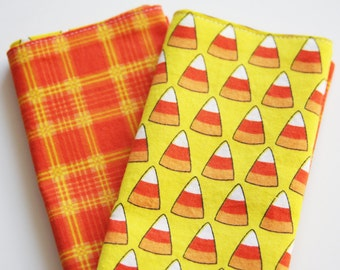 Halloween Lunchbox Napkins - Set of 2 - Candy Corn - Pick Black or Yellow background