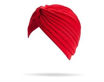 Red Turban full headband, headpiece, hair turban, boho headband