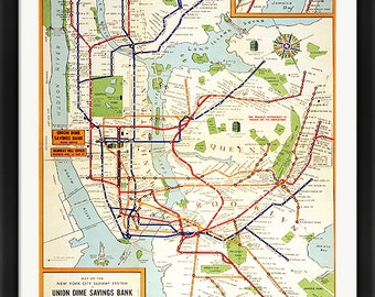 NYC Subway Map Vintage Style Framed Poster