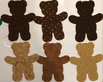 6 Die Cut Appliqué Teddy Bears
