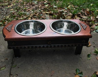 Medium Size Elevated Dog Bowl Feeder, Red Oak with Black Base, 2 Two Quart Stainless Bowls  Cottage Chic Pet Feeder Made to Order
