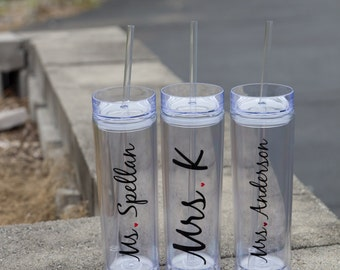 Mrs. Tumbler Bride gift tumbler. Personalized water tumbler. Features new last name. Bridal shower gift. Wedding morning. BPA Free