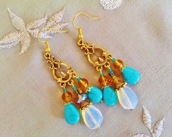 Gold opal chandelier earrings, gold long gypsy chandelier earrings with white sea opal teardrops and turquoise