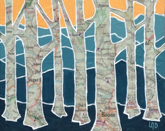 Boone Trees - Archival Print of original map painting featuring Boone, North Carolina,Appalachian Blue Ridge Mountains