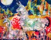 """Llamas Trivet   """"Moonlight Llamas""""  -   Ceramic tile  - from original batik"""