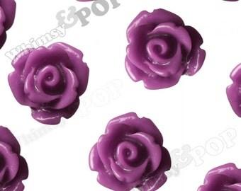 Plum Purple Rose Cabochons, Flower Cabochons, Flower Cabs, 10mm Rose Cabochons, Flat Back Roses, 10mm x 6mm (R1-071)