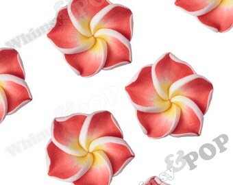 Red Plumeria Flower Beads, Fimo Clay Plumeria Beads, Drilled Flowers, 15mm Flower Beads, Hawaiian Flower Beads, 1mm Hole (R9-041)