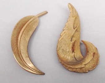 Vintage Leaf Feather Brooches fashion pins Nature Fall style Gold Tone Set of 2
