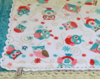 "Double minky baby blanket-30""X36""- coral and teal minky blanket- baby minky blanket- minky blanket- owl minky blanket- toddler blanket"