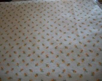 Yellow Rosebud Cotton Flannel Fabric Yardage