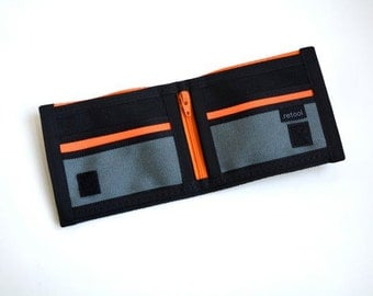 Seatbelt Wallet with Coin Pocket - Orange and Black Velcro Wallet