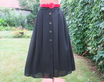 Full Black Skirt / Skirt Vintage / Black Skirt Pockets / Skirt