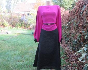 Black Skirt / Skirt Vintage / Linen Skirt / Long Skirt / Size EUR40 / UK12