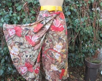 Wrap Cotton Skirt Vintage / Summer Skirt / Size EUR42 / UK14,