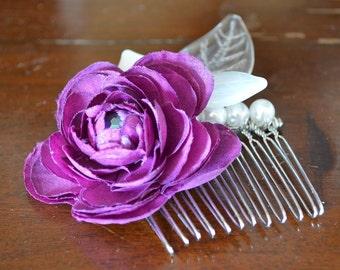 Purple Ranunculus Hair Comb, Purple Flower Hair Comb, Wedding Hair Comb