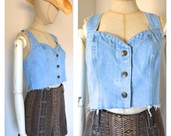 Vintage 80s Denim Crop Top Belly Shirt Jeans Jean Tank Racer Back Sweetheart Button Front Overalls Style Concepts and Design Frayed Medium