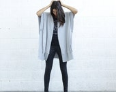 SALE 30% OF Embroidered Poncho,Light Grey .