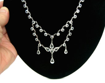 Crystal Bib Necklace & Dangle Earring Set.  Open Back Crystals. Festoon Style. Vintage 1950s Victorian Revival Wedding Jewelry