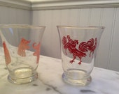 Retro Orange Juice Glasses Rooster and Elephant