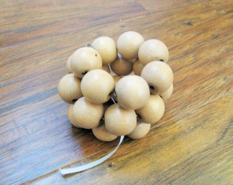 1950s natural textured wood multi strand memory wire beaded wrap cuff