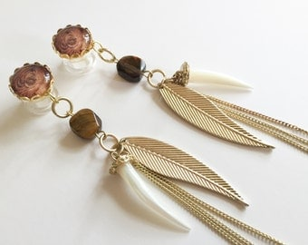 "1/2"" Dangle Plugs 000g 7/16 Gauged Earrings 9/16"" Ear Plugs With Gold Chain Tassel, Tigers Eye Bead, Pearl Horn, Half Inch 12mm/11mm /14mm"
