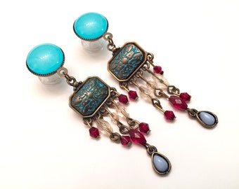 8mm 10mm 00g 0g Plugs Boho Beaded Gauged Earrings 6mm 2g Chandelier Gauges 5mm 4g Dangle Plugs, Acrylic Steel or Wood Plugs Red And Blue