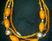 Necklace, Moroccan inspired, with African glass beads,  Copal, Ethiopian Telsum beads