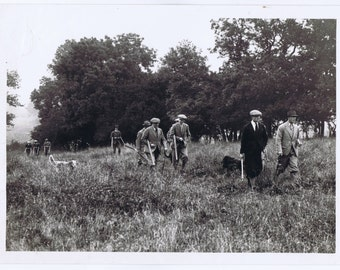 Antqie Vintage Thirties English Country House Partridge Hunt Shooting Party Photograph bw Downton Abbey