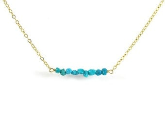 Turquoise Bar Necklace, Gold Chain, Gemstone Jewelry, Turquoise Nuggets, Boho, Minimilist, Layering, December Birthday, Christmas Gift Idea