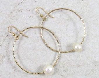 Gold Hammered Hoop Earrings, White Freshwater Pearls, Elegant Hoops, Bridal Jewelry, Wedding Accessories, June Birthstone, Handmade Maui
