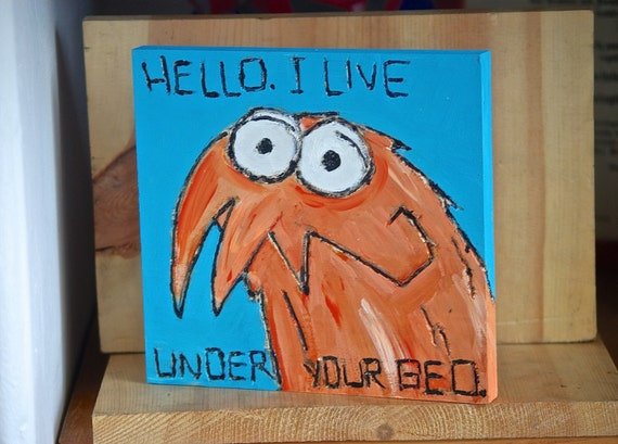 I Live Under Your Bed Wooden Wood art painting orange monsters blue nursery art for child boys room girls decor fall autumn august baby