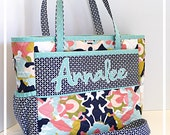 Custom Personalized Diaper Bag Coral Navy Mint White Diaper Bags for Girls Nappy Bags for Boys Monogrammed Baby Tote Bag New Mom Tote Bag