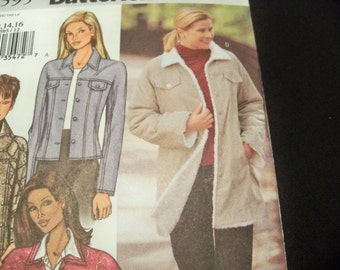 Butterick 3595 Sizes 12 to 16 Misses Jacket Sewing Pattern Supply Loose-Fitting, Lined, Princess Seam Single Breasted Coat Western Jacket FF