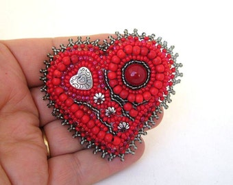 Red Heart brooch, Red bead embroidered brooch, Beaded brooch, Red heart pin, Red heart, Gift for her