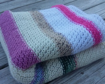 Handmade Crochet Throw Lap Blanket Afghan Multicolor Scrap Blanket