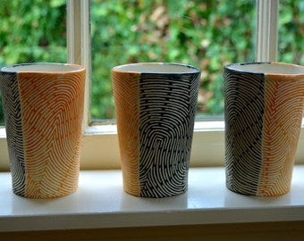 Orange and Black Tall Cups (Set of 3)