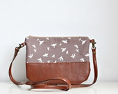 Crossbody leather bag, Organic, Vegan leather, Clutch Purse, Every day purse, Every day bag, Brown, Birds