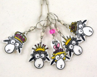 queenie sheep stitch markers, whimsical set of 5, fun gift for knitter
