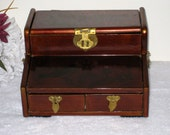 Brown Lacquerware Oriental Jewelry Box With Birds & Flowers / 2 Drawers / Lift Up Lid / 2 Handles