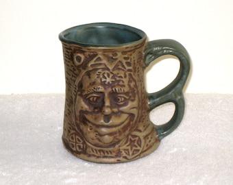 1971 JIM RUMPH Signed Cross-Eyed OGRE Art Pottery Tankard, Mug With Gremlin, Troll Inside / Ugly Ogre Mug / Scary Gag Gift