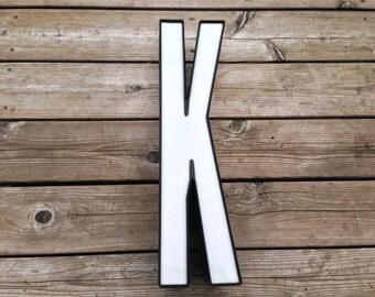 K - Reclaimed Metal letter - 19 inch - XL - SALE