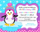 Girly PENGUIN invitation - with or without photo - YOU PRINT